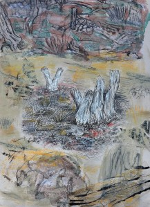 """A Walk In The Bush"" 1998 Mixed media on paper"