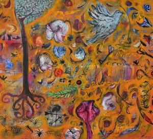 """Amaranth Celebration"" 2005 pastel & gouache on paper"