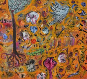 """Amaranth Celebration"" 2005 pastel & gouache on paper"