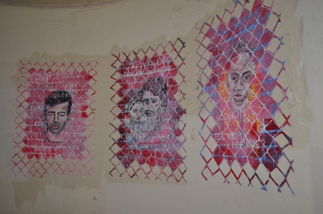 """Asylum Seekers"" (bus stop paste-up) acrylic on paper August  2013"
