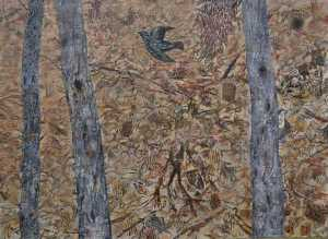 """Bird in The Bush"" Acrylic on Canvas 2001 128 x 175 cm"