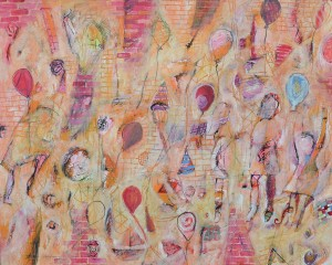 """The Birthday Party"" 2008 ink pastel & gouache on paper"