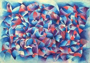 """Bribie Island Sea Music"" 2004 crayon on paper 36 x 52 cm"