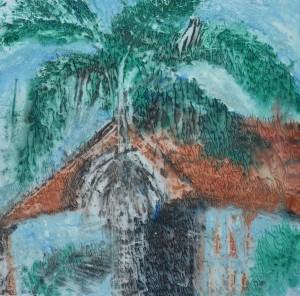 """""""Brisbane Downpour"""" 2005 monotype 40 x 40 cm"""