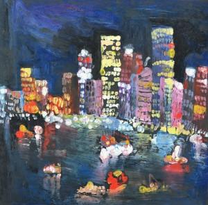 """Brisbane Evening"" 2005 Monoprint on paper 60 x 60 cm"