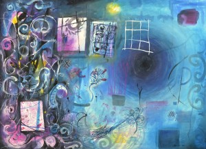 """""""Brisbane Night Sounds"""" 2004 pastel and ink on paper 60 x 80 cm"""