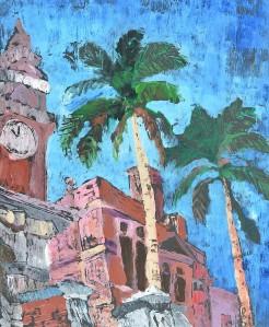 """Brisbane Street Scene"" 2005 monotype 45 x 35 cm"
