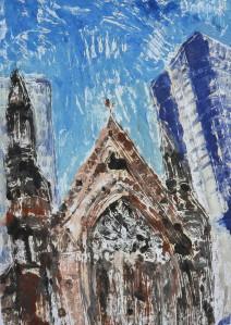 """""""Church and Sky Scraper"""" 2005 Monotype 60 x 40 cm"""