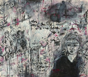 """""""Conversations in the Street"""" 2005 pastel & ink on paper 60 x 80 cm"""