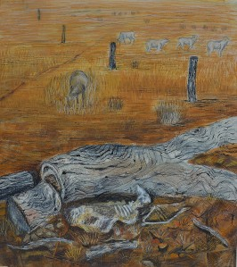 """Dry Paddock"" 1998 pastel & ink on paper"
