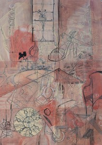"""Interior"" 2001 pastel & ink on paper 40 x 30 cm"
