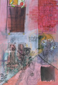 """""""Neutral Zone"""" 2001 pastel & ink on paper"""