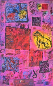 """""""Domestic Heartland"""" 2004 pastel and ink on paper 80 x 50 cm"""
