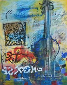 """Postcard No 6"" 2004 pastel, ink & acrylic on paper 60 x 40 cm"