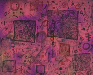 """""""Moorooka Whispers"""" 2004 pastel and ink on paper 60 x 80 cm"""