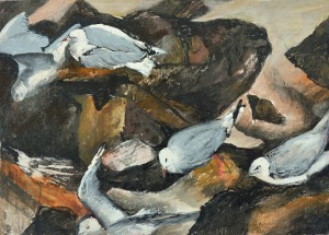 """""""Rocks and Seagulls Bribie Island"""" 2004 ink and crayon on paper 30 x 40 cm"""