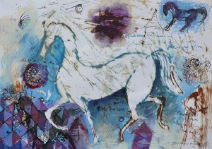 """Cock Horse"" 2006 mixed media on paper 25 x 40 cm"