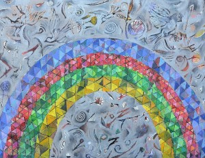 """Rainbow"" 2007 ink and crayon on paper"