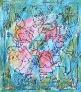 """Ring a Ring of Roses"" 2007 oil & crayon on paper"