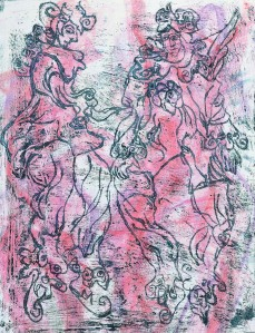 """Puppets"" 2008 oil and crayon on paper"