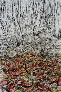 """Edge of The Woodlands"" 1999 ink & pastel on paper 80 x 60 cm"