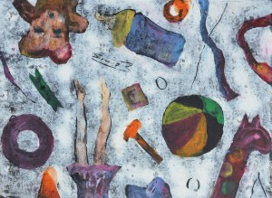 """Floor Time No.5"" 2006 monotype oil on paper"