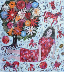 """The Flower Tree"" 2008 ink, gouache & crayon on paper"