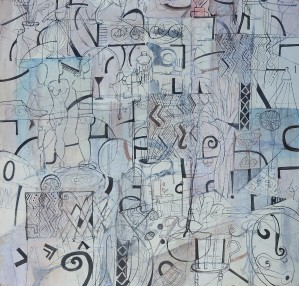 """""""Graphic Impressions No.5"""" 2001 ink & pastel on paper 60 x 60 cm"""