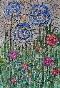 """Happy Garden"" 2009 crayon, ink, pastel & gouache on paper"