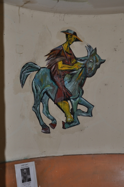 """Horse and Rider""  (bus stop paste-up) acrylic on paper June 2013"