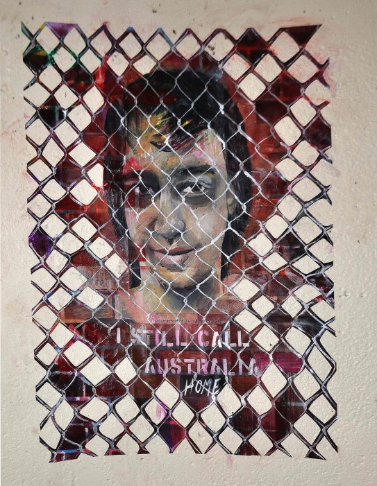 """I Still Call Australia Home"" (bus stop paste-up) acrylic on paper February 2013"