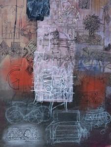 """Interior"" 2001 pastel & ink on paper"