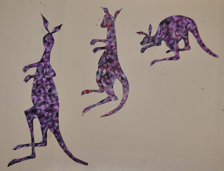 """kangaroos"" (bus stop paste-up) gouache on paper February 2013"