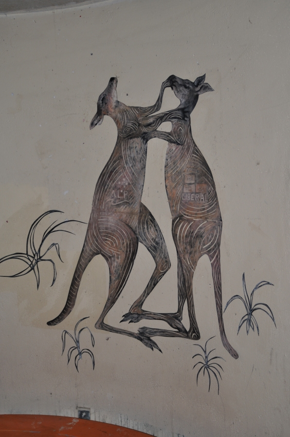 """Kangaroo Fight"" (bus stop paste-up) acrylic on paper September 2013"
