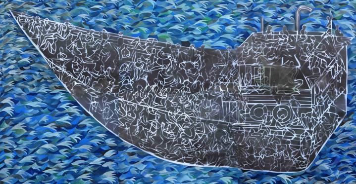 """Voyage"" 2013 spray enamel and gouache on paper 100 x 192cm"