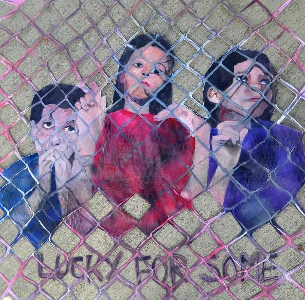"""Lucky For Some 1"" (bus stop paste-up) acrylic on paper May 2013"