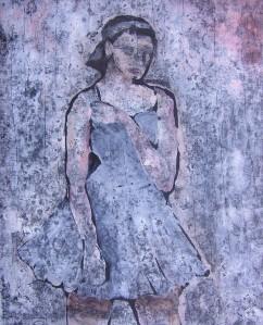 """Milk Princess"" 2006 Mono type oil on paper 50 x 30 cm"
