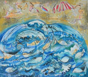 """Narooma Beach Holiday"" 2009 ink, crayon and gouache on paper"