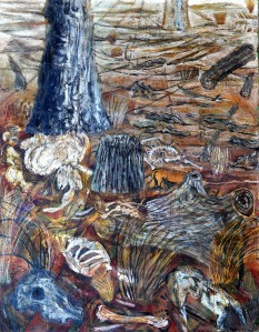 """Newstead Hungry Country"" 1997 acrylic on canvas 172 x 130 cm"