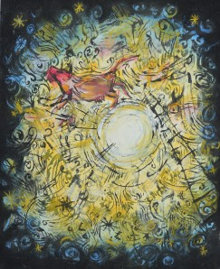 """Over The Moon"" 2005 pastel and ink on paper"