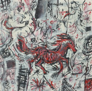 """""""Red Gallop"""" 2005 ink and pastel on paper 40 x 40 cm"""