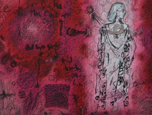 """""""Red Serenade"""" 2004 pastel and ink on paper 40 x 60 cm"""