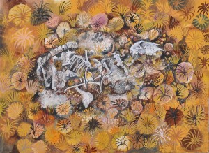 """Resting Place"" 1998 pastel & ink on paper"