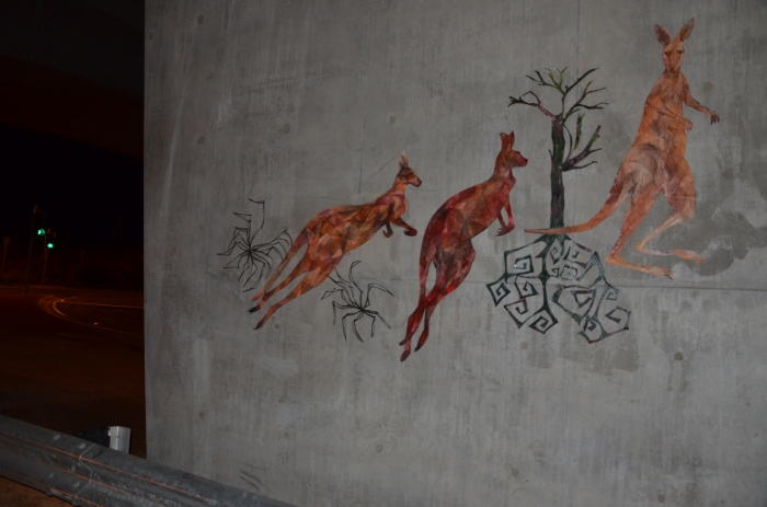 """Kangaroos Mural"" acrylic and spray enamel on paper March 2014"
