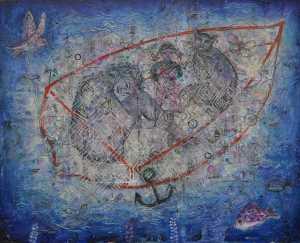 """The Boat"" 2003 Acrylic on canvas 106 x 130 cm"