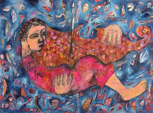 """Musician"" 2009 Mixed media on paper"
