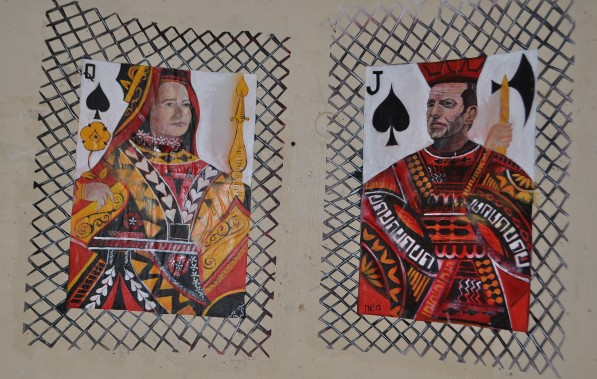 """The Players"" (bus stop paste-up) acrylic on paper April 2013"