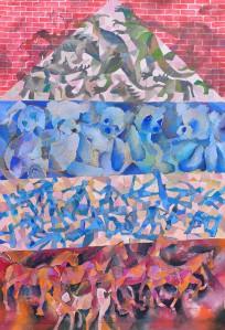 """""""Toy Castle No. 2"""" 2011 ink, crayon & gouache on paper 80 x 60 cm"""