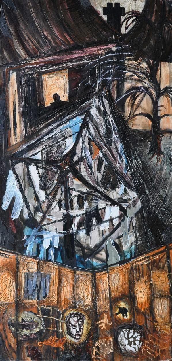 """""""Above The Snow Line"""" 1993 acrylic on canvas 100 x 60 cm"""