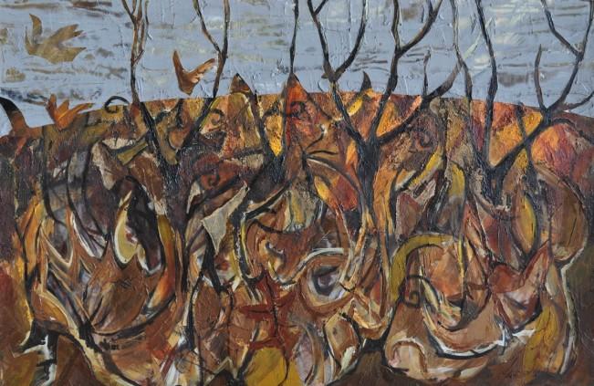 """""""Autumn Garden"""" 1993 acrylic on canvas 80 x 110 cm"""